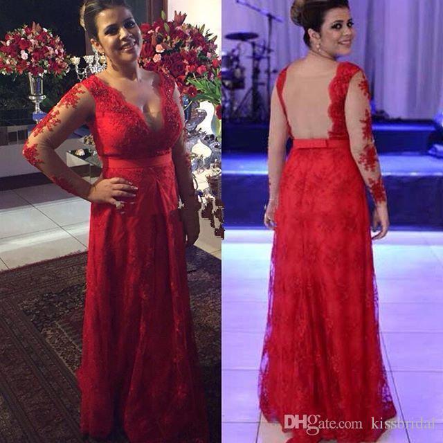 Plus Size Prom Dresses Applique scollo a V Illusion Backless fodero Prom Gowns lungo pavimento formale abiti da festa