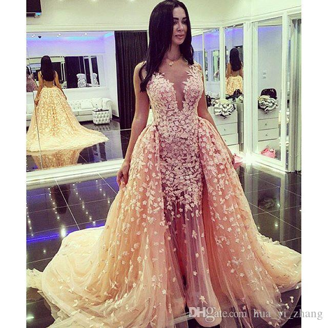 Sheer Deep V Neck Evening Dresses 2016 Arabia Appliqued Evening Dresses Detachable Overskirts Formal Party Gowns
