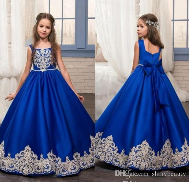 Square Satin Ball Gown Big Bow Lace Appliques Ruffle Royal Blue Beautiful Wedding Dresses Flower Girl Dresses