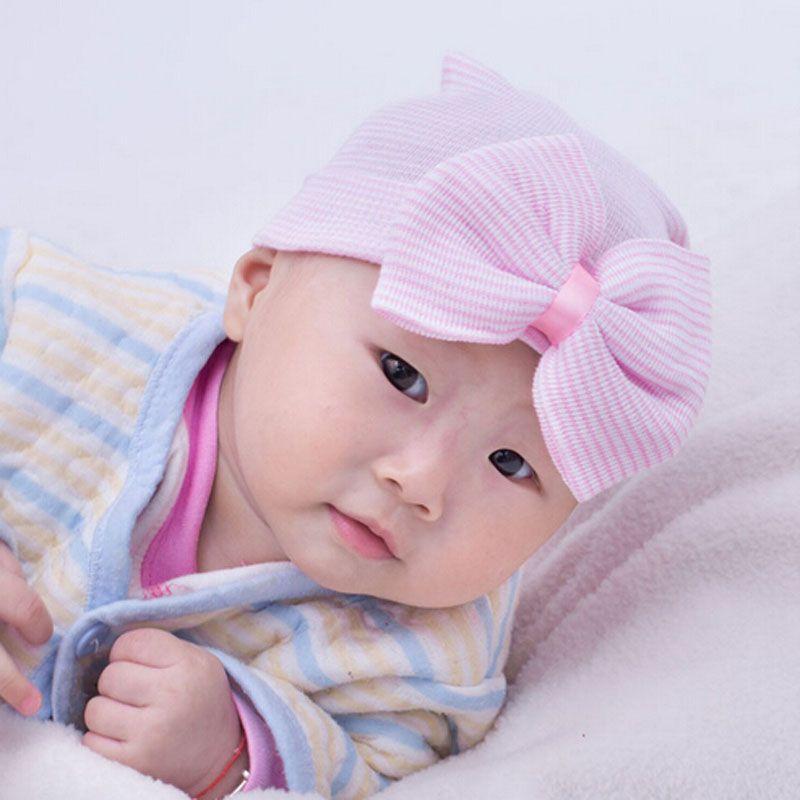 Sombrero del Hospital Recién Nacido al Por Mayor Wholesale Blancas Beanie con Arco Infantil Sombrero Baby Shower Regalo Envío Gratis Via fedex dom106233