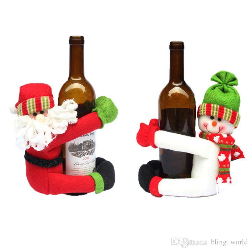 Lovely Christmas Wine Bottle Holder Snowman Santa Claus Dinner Table