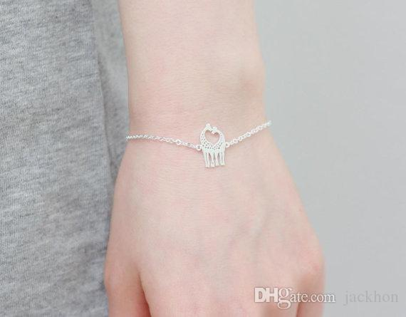 Corazón lindo Loving Giraffes animal charm Bracelets Simple lovely Twin Giraffe Deer Bracelet Animal joyería para parejas