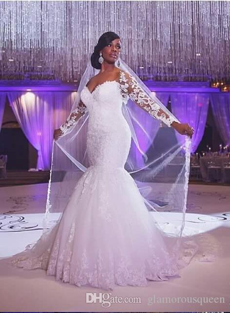 South Africa Hot Sale Shine Lace Appliqued Sweetheart Long Sleeves Custom Made Bridal Gowns Mermaid Wedding Dress White