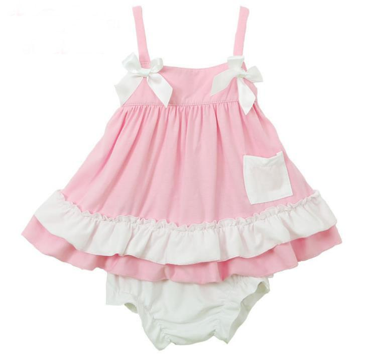 Summer Baby Girls Sleeveless Bowknot Ruffles Brace Skirt Dress Suit Toddler Baby Cotton Tops PP Shorts Baby Set Infant Clothing 11207