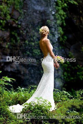 Długie Beach Suknie Ślubne Białe Koronki Backless Mermaid Sweetheart Długość podłogi Seksowna Niska Powrót Suknia Ślubna Darmowa Wysyłka New Arrival