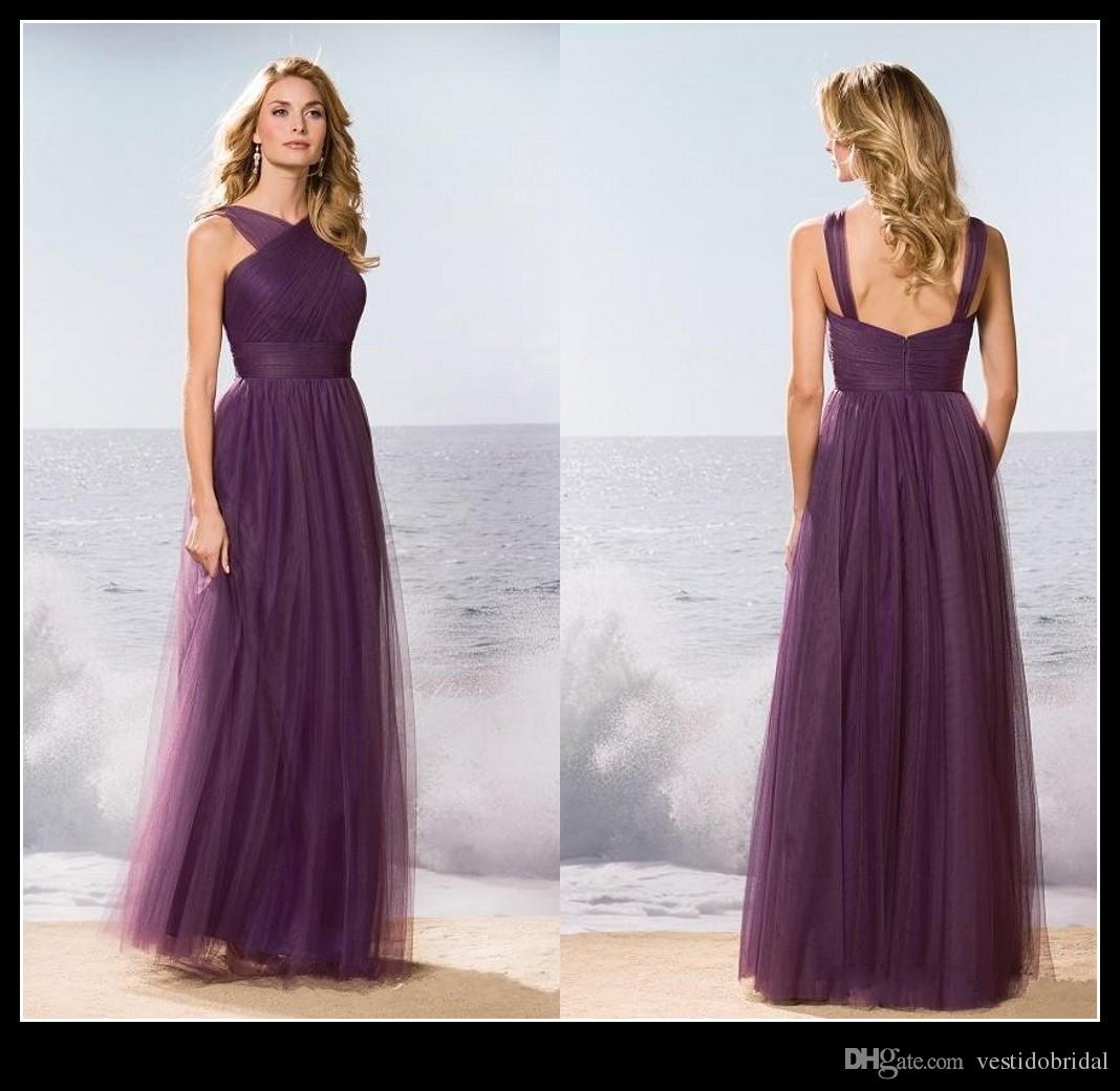 Cheap Long Purple Bridesmaid Dress 2016 Asymmetrical Neck Ruched ...