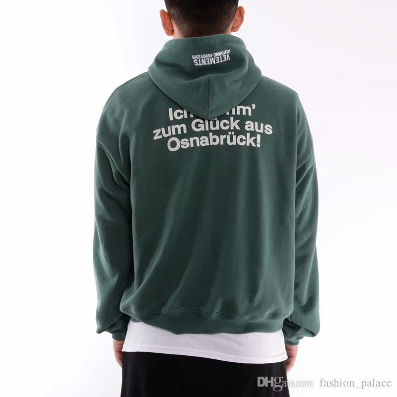 7623ba626 Grosshandel Vetements Grune Tourist Hoodie Design Ubergrossen Pullover