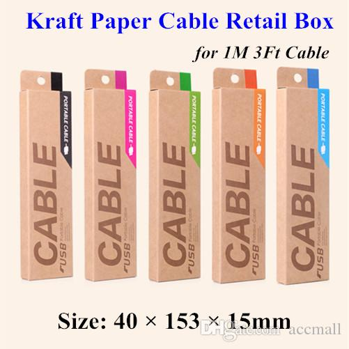 Luxury Kraft Paper Retail Packaging Bag Package Box For Samsung Galaxy S4 Note 3 iPhone 4 5 5S 6 1M USB Charging Cable Data Line