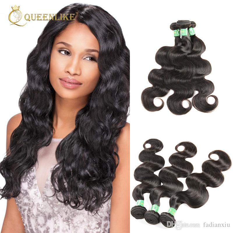 Peruvian Virgin Hair Extension Body Wave 1b Natural Color Soft