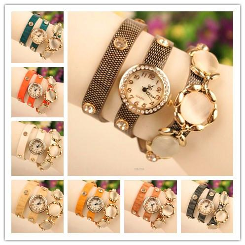 Nagelneue Verpackungs-Frauen-Dame Wrist Watches rundes Zifferblatt charmante Armbänder Uhren mischen Farben freies Verschiffen Tropfenverschiffen