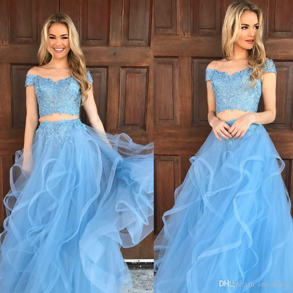 cd634a9d71 Light Sky Blue Two Piece Long Prom Dresses Lace Off The Shoulder Tulle  Ruffles A Line Formal Evening Party Gowns 2018 Petite Prom Dress Plus Sized  Prom ...