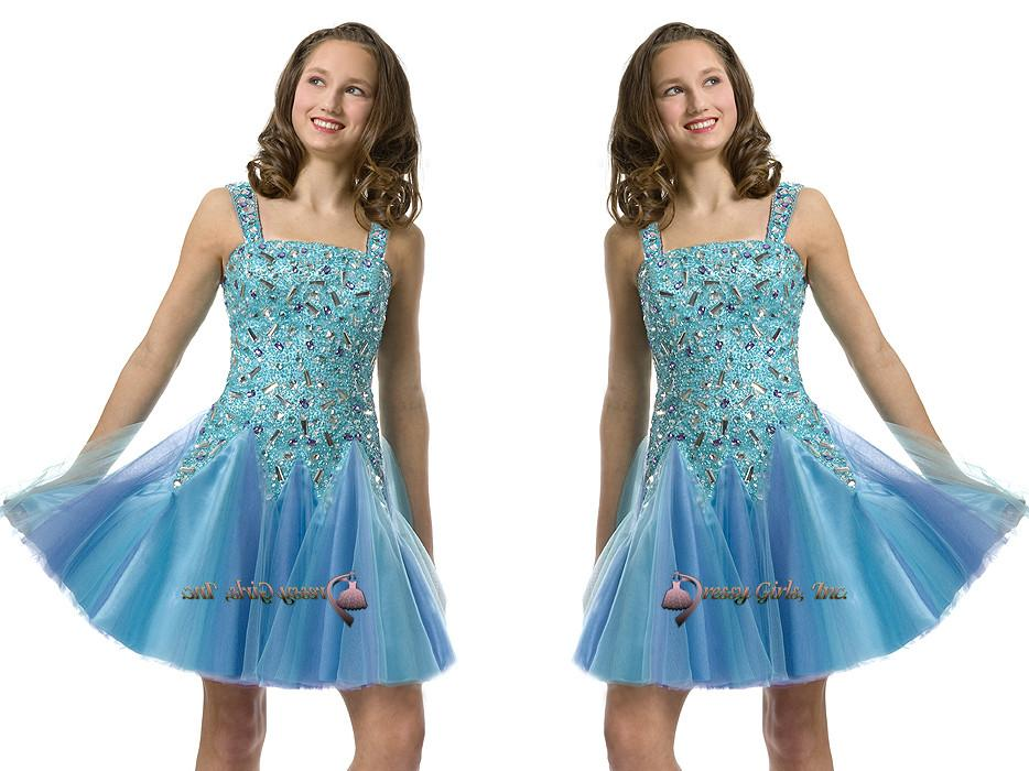 Light Gray Bridesmaid Dresses Knee Length Soft Tulle: 2015 Short Pre Teen Blue Sequins Soft Tulle Girls Pageant