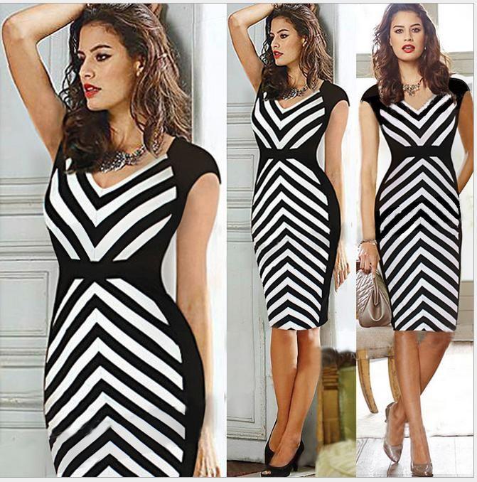 3a1da69947d 2019 Plus Size Zebra Striped Sheath V Neck Women Party Dress Work Dress  Office Lady Black White Pencil Dress Summer Style Up To 2XL From  Tradingbear
