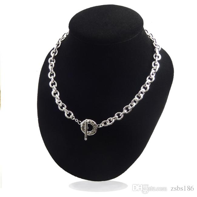 High quality 925 sterling silver plated TO chokers necklaces fashion unisex jewelry factory price