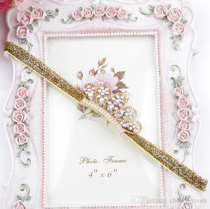 Corona vendas del bebé lindo del brillo de lujo de Corea del diamante Tiaras para chicas bandas del pelo cumpleaños Boutique niños accesorios para el cabello H080