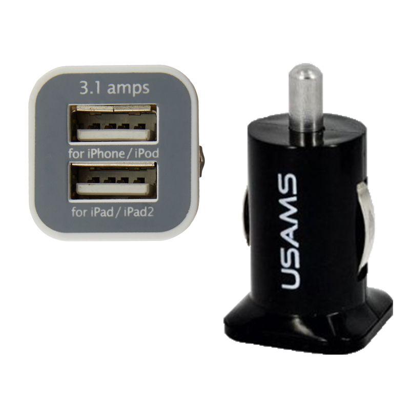 USAMS 3.1A Dual USB Автомобильное 2-портовое зарядное устройство 5 В 3100 мАч с двумя разъемами автомобильные зарядные устройства адаптер для HTC