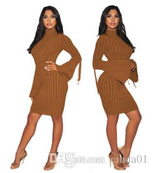 Women Bandage Bodycon Dresses Autumn Spring Flare Sleeve Lace up Dress Vertical Striped Skinny CLothes