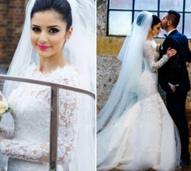 패션 머메이드 웨딩 드레스 저렴한 2016 아랍어 플러스 사이즈 긴 소매 레이스 Appliques 겸손한 웨딩 드레스