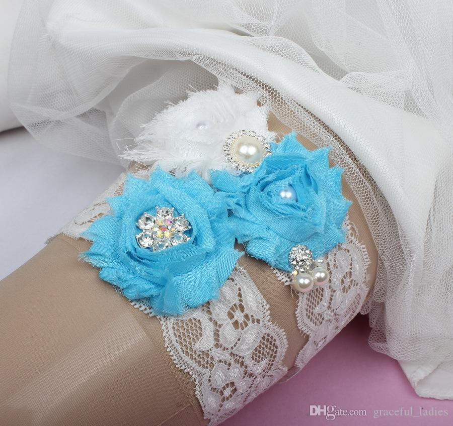 Plus Size Wedding Garters: 2015 Plus Size Lace Flowers Bridal Garters Blue And White