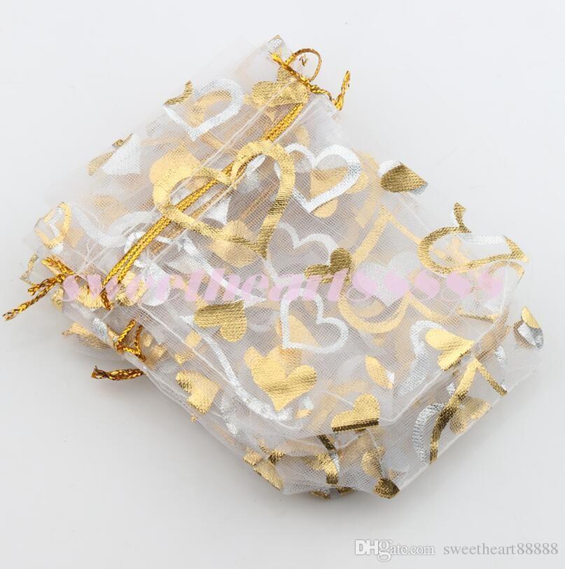 2017 10 cores 7X9 cm Open Gold Silver Heart Pequenas Sacos De Organza Jóias Presente Bolsas Saco De Doces GB040