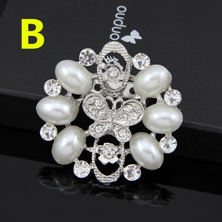Alloy Pearl brooch 925 silver plated Real Austria Crystal Brooch Diamond Flowers Brooches Pins For Women Dresses jewelry accessories