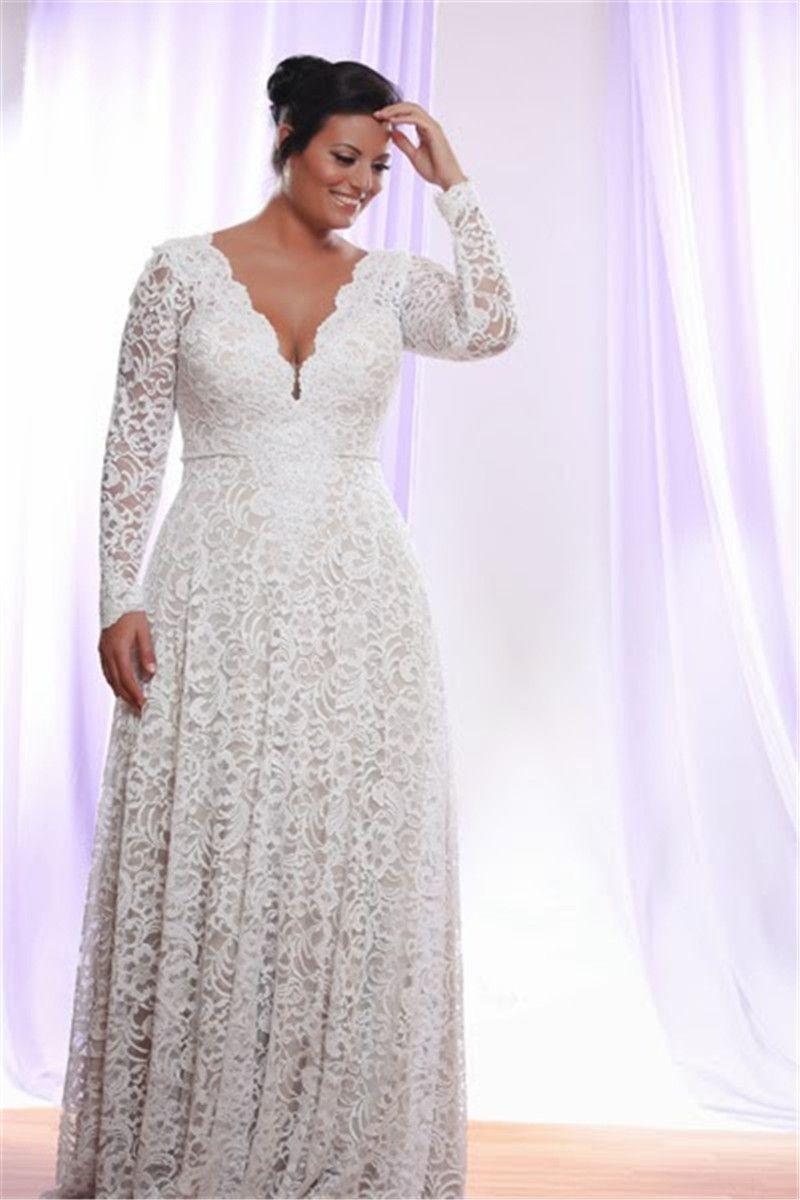 Günstige Plus Size volle Spitze Brautkleider mit abnehmbaren langen Ärmeln V-Ausschnitt Brautkleider bodenlangen A-Linie Brautkleid