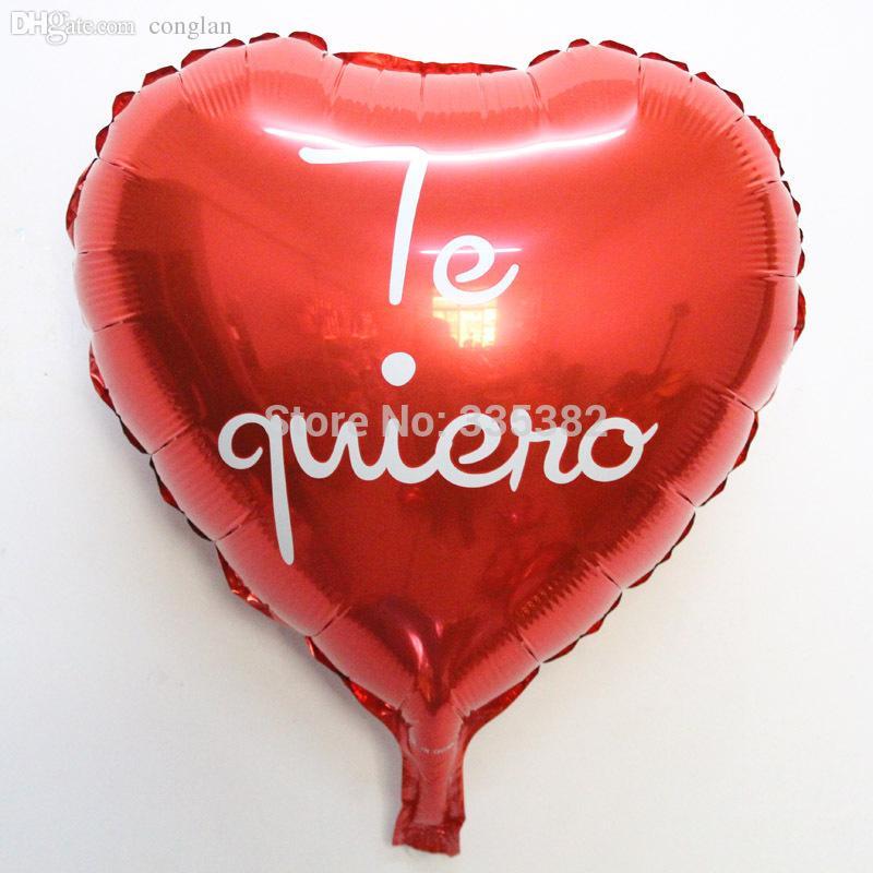 Wholesale New 18inch Spanish I Love You Heart Foil Balloon Valentineu0027S Day  Ballon Foil Balloon Wedding Balloon Supplies Customised Helium Balloons  Helium ...