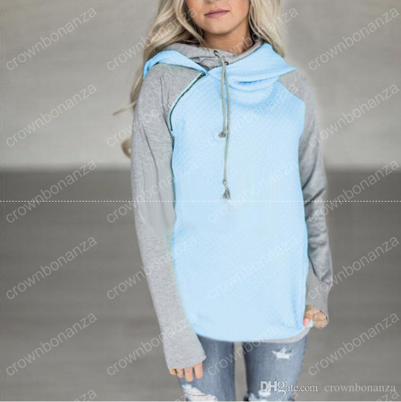 Frauen Nähen Langarm-Pullover Baumwolle Pullover Herbst Winter Hoodies Frau Tops 5 Farben