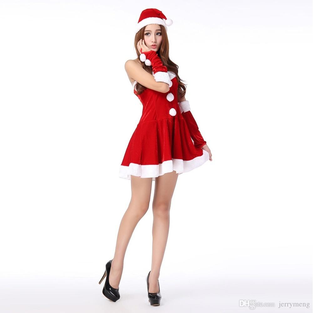Women Christmas Costume One Piece Dress Hat Santa Claus Cosplay Size: One Size