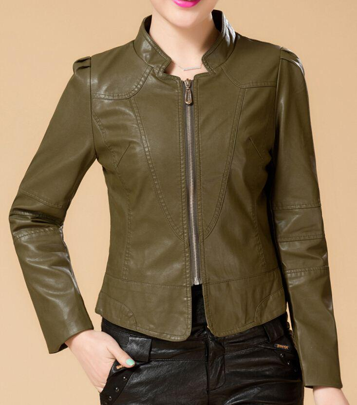 Army Green Leather Jacket Women Spring Leather Clothing High ...
