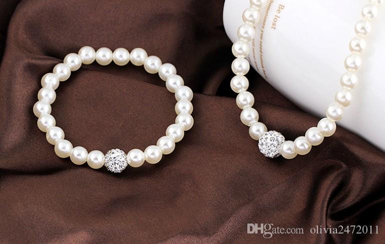 أزياء الزفاف تقليد الأبيض الطبيعي لؤلؤ المياه العذبة مجموعات المجوهرات حجر الراين الكرة قلادة أقراط سوار مجموعات مجوهرات للنساء DB