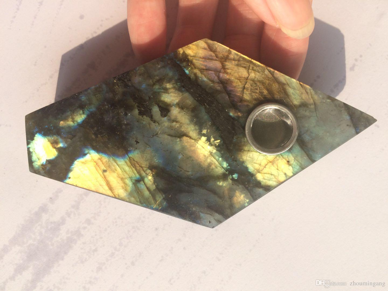 Natural quartz nice flash labradorite Crystal Smoking Pipe pentagonal strainer quartz stone tobacco pipe healing rhomboid point