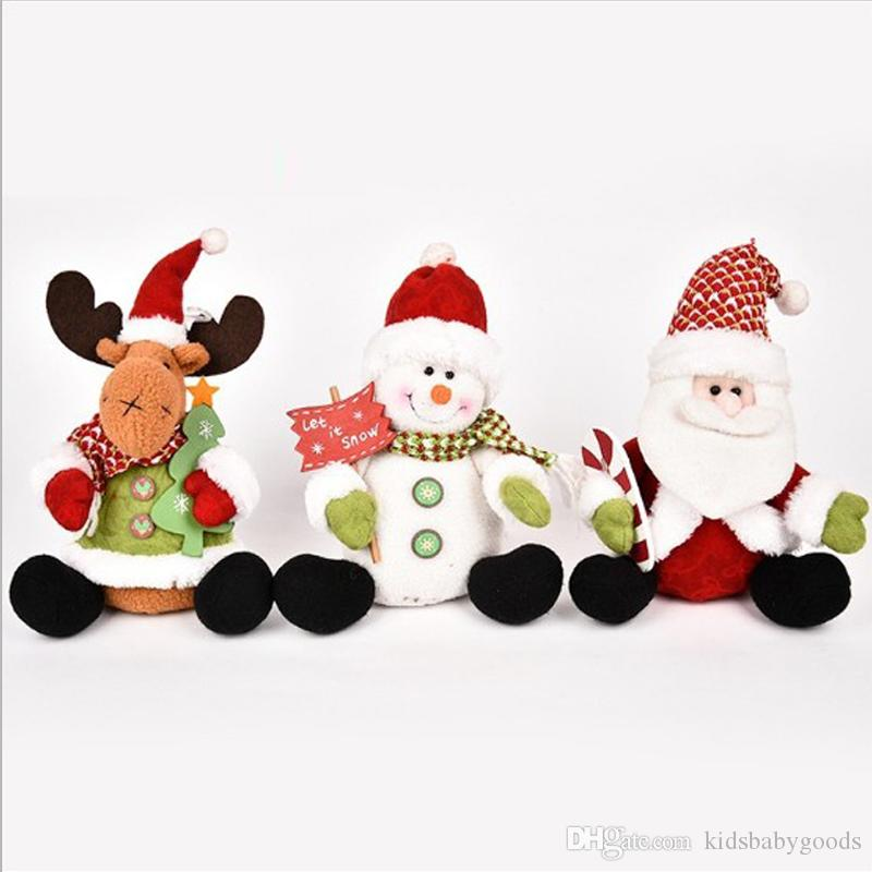 25-49cm Multi Styles Stretchable Santa Claus Snowman Reindeer Doll Christmas Tree Hanging Decoration Plush Toy