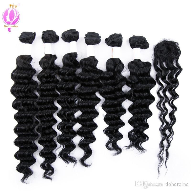 DOHEROINE Pre-colored 1 # Brasileña Remy Hair Onda Suelta Wave 6 Paquetes con cierre Paquetes de cabello humano con cierre superior de encaje