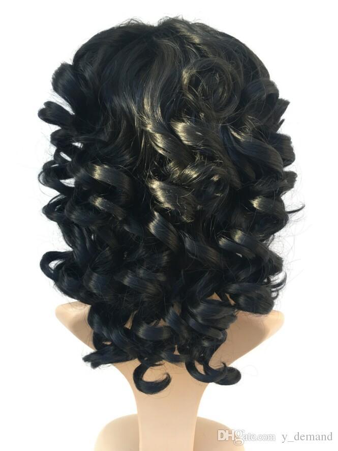 Mode Afro Cosplay Perücke Tiefe Welle Kurze BOB Schwarz / Braun Synthetische Perücken Wellenförmige Lockige Natürliche Haar Perucas für Schwarze Frauen