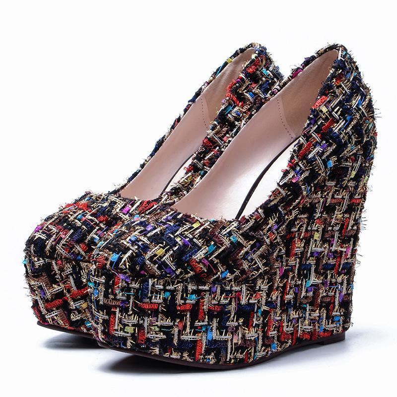 7bc69f6e6 15cm High Heel Women Rome Shoes Round Toe Platform Wedges Shoes ...