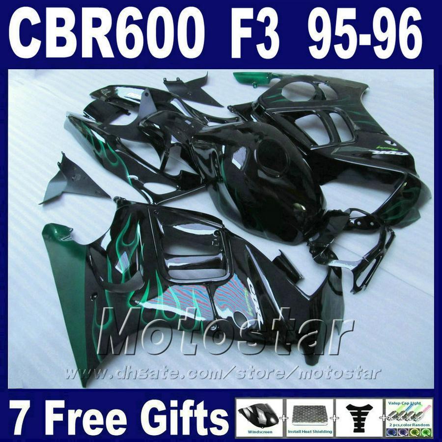 ABS plastic body fairings for HONDA CBR 600 F3 95 96 black green flame cbr600 f3 1995 1996 aftermarket fairing sets