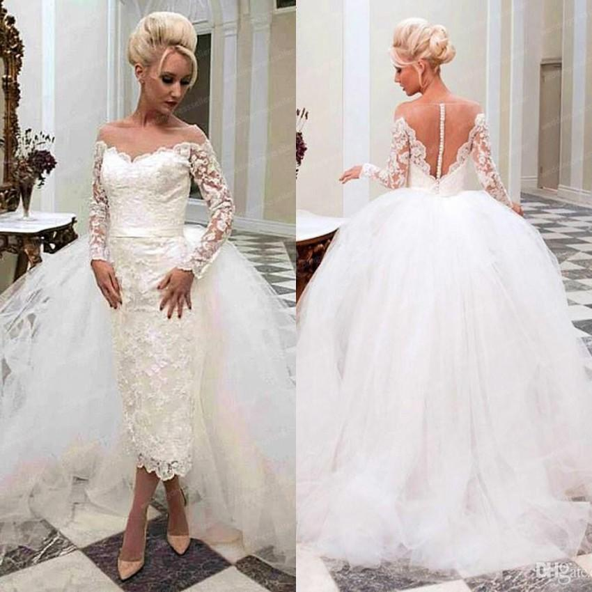 Wedding Dresses With Detachable Tail: Custom 2015 White Ivory Off Shoulder Long Sleeves Lace