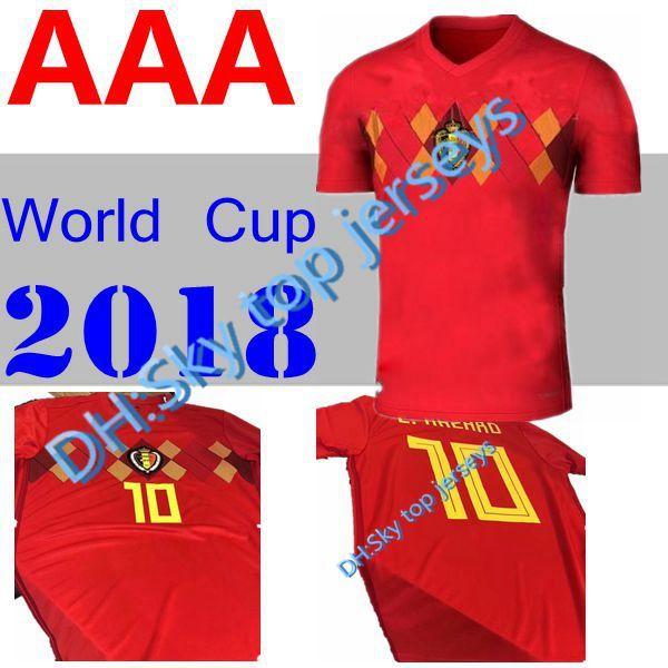 a9782fbdb 2019 Belgium 2018 World Cup Home Red Top Thailand Quality LUKAKU FELLAINI E.HAZARD  KOMPANY DE BRUYNE Soccer Jersey 18 Belgium Football Shirt From ...