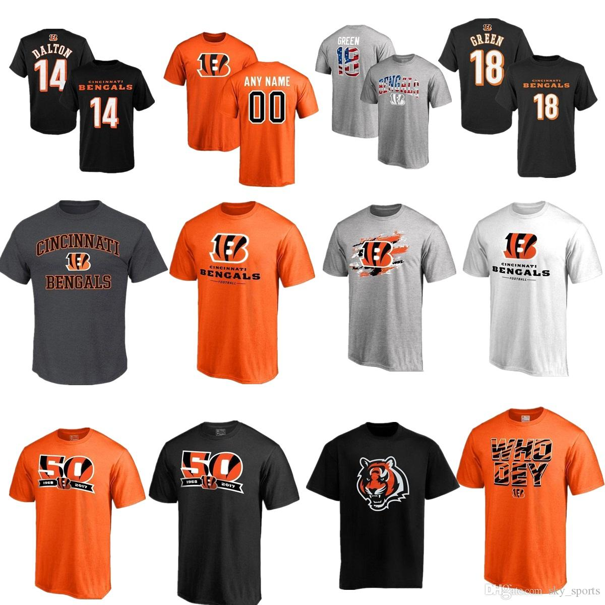 2e62931a Men's Cincinnati Bengal 18 A.J. Green 55 Vontaze Burfict 85 Tyler Eifert 14  Andy Dalton Name & Number Logo 50th Anniversary T-Shirt