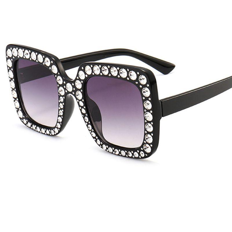 ALOZ MICC Fashion Brand Square Frame Sunglasses Women Retro Diamond ...