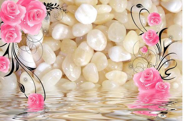 customize pebbles rose water ripple wallpaper wall sticker