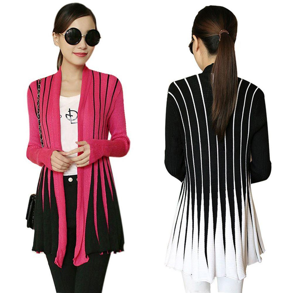 Online Cheap New Knitted Cardigan Women Sweater Open Front Stripe ...