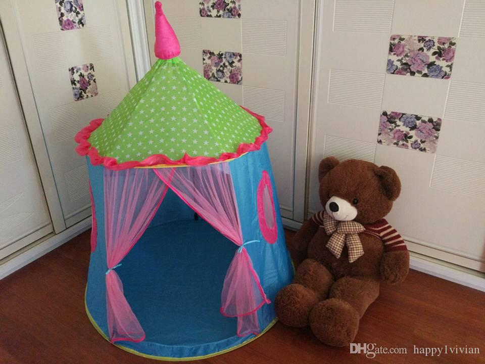 2017 New Style Princess Castle Tent Cute Kids Play Game House Foldable Tent Cubby Gift For Children