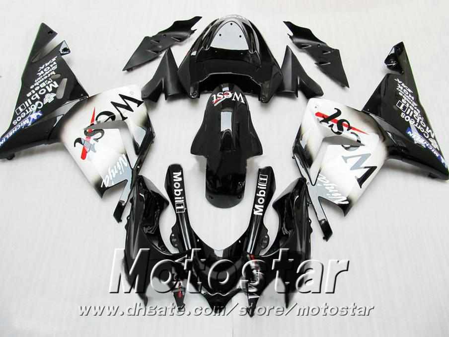 Injection molding bodykits for Kawasaki fairings ZX 10R 2004 2005 black white West ABS fairing kit 04 05 ZX10R LP7