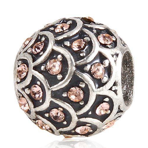 925 Silver Luźne Koraliki Brzoskwinie Kryształ Okrągły Duży Otwór Fit Europejskiej Charms Pandora Bransoletka DIY Interfax Styl Bransoletki Bransoletki