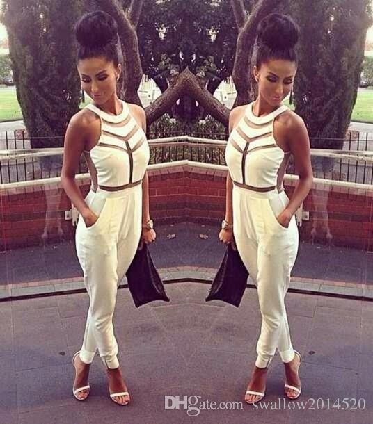 2016 fashion Womens Celebrity Bodycon dress, Ladies Evening sexy party bandage dress, Popular Mixed Color Arrow Jumpsuit