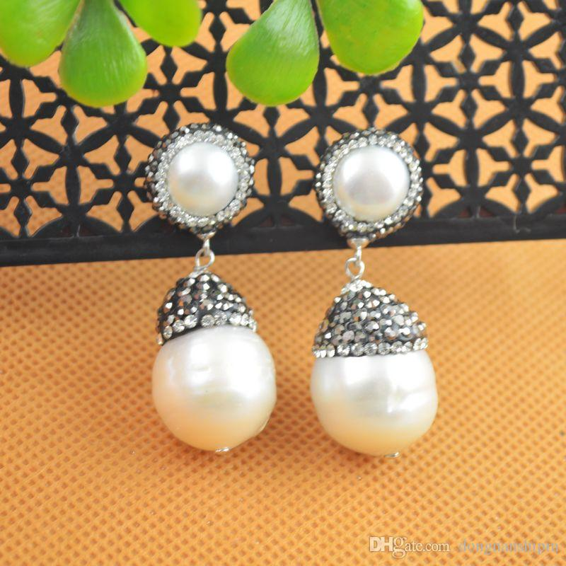 NEW Fashion ~ White Color Water Drop Pearl With Rhinestone Crystal Dangle Earrings Jewelry Finding