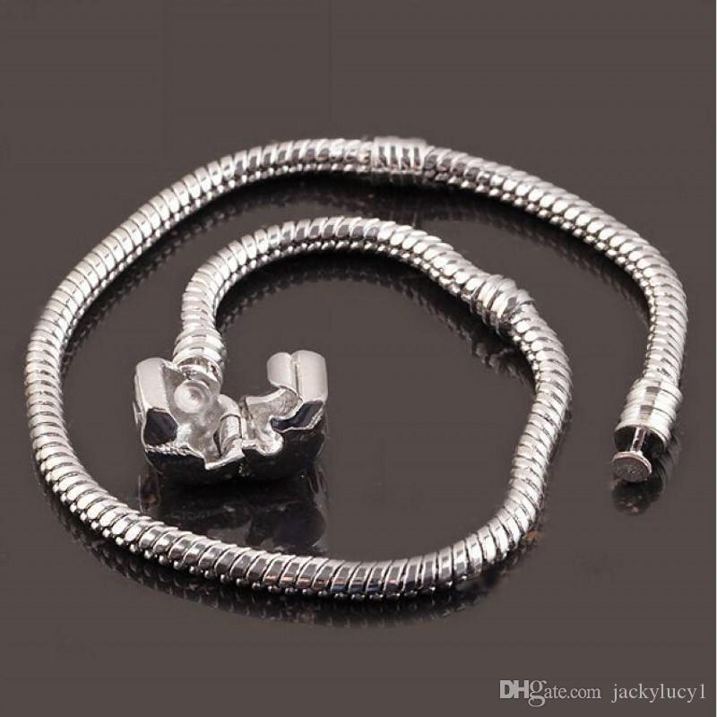 16 to 23cm 925 Sterling Silver Plated Snake Chain Bracelet Fit European Beads With 925 50pcs/lot Free Shipping