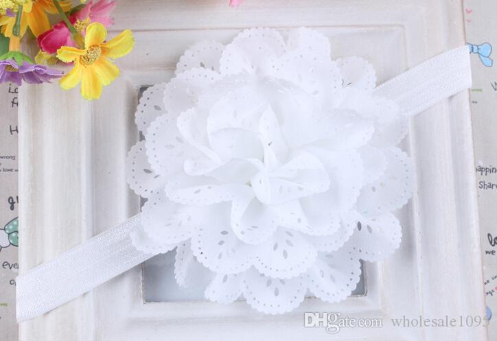 Children Hair Accessories 10cm Baby Ruffled Chiffon Flower With Elastic Hair Band